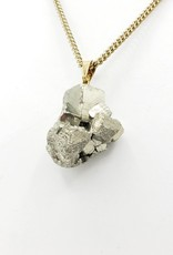 Pyrite Chunk Necklace, Brass Chain