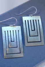 Amaree and Reese Lasercut Brass Earrings rectangular cutouts, brushed finish