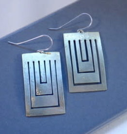 Amaree and Reese Lasercut Brass Earrings rectangular cutouts, brushed finish 2""
