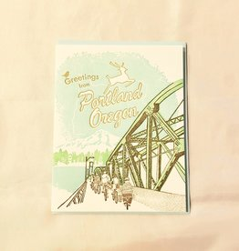 Greetings From Portland, Oregon Greeting Card - Ilee Paper
