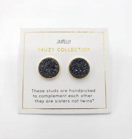 Jax Kelly Black Cluster Druzy Round Earring 14K Gold plated Bezel Stud