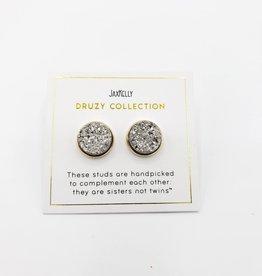 Jax Kelly Silver Cluster Druzy Round Earring 14K Gold plated Bezel Stud