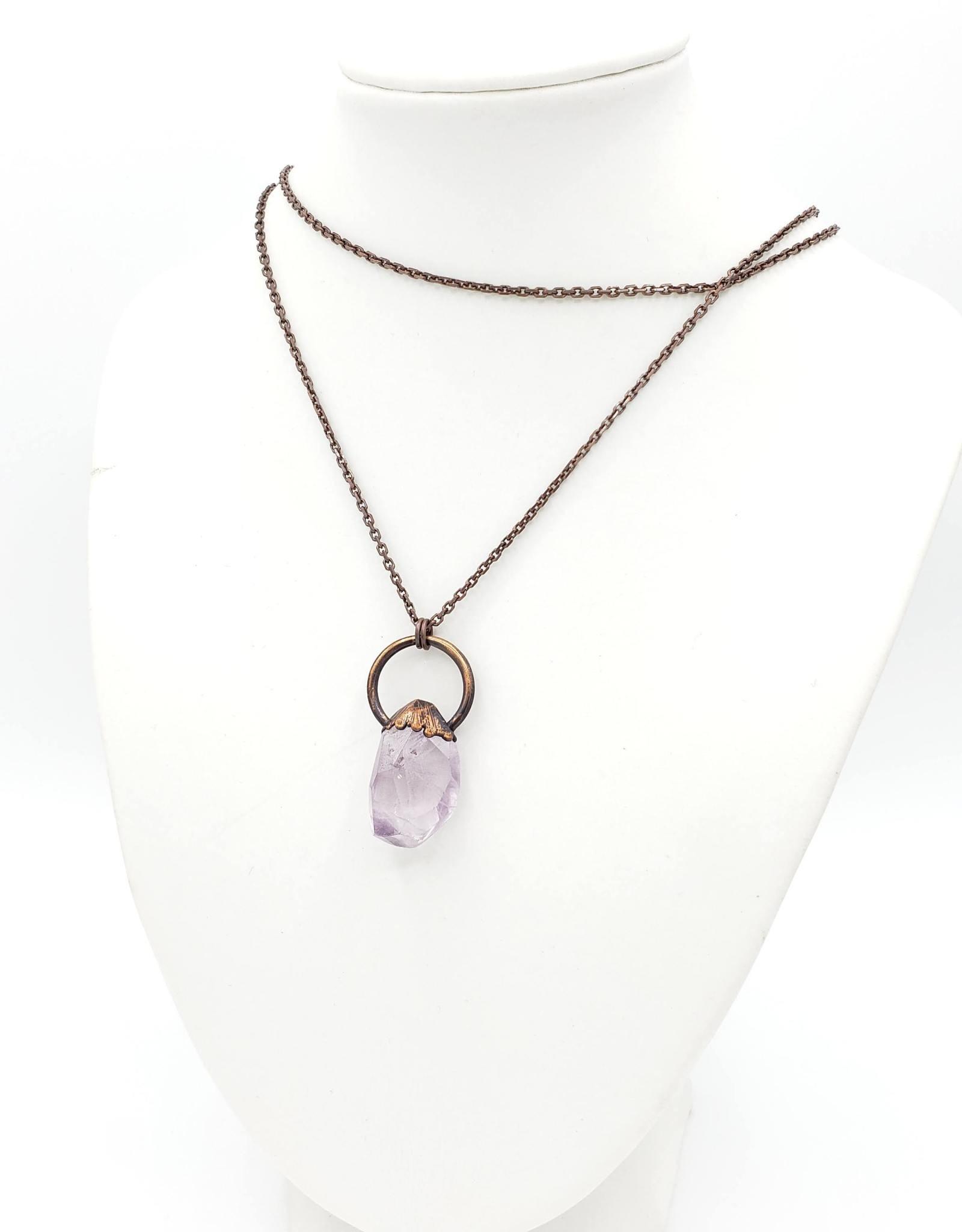 TTereve Polished Amethyst Necklace on Copper Ring