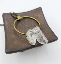 TTereve Double Quartz Point Brass Necklace
