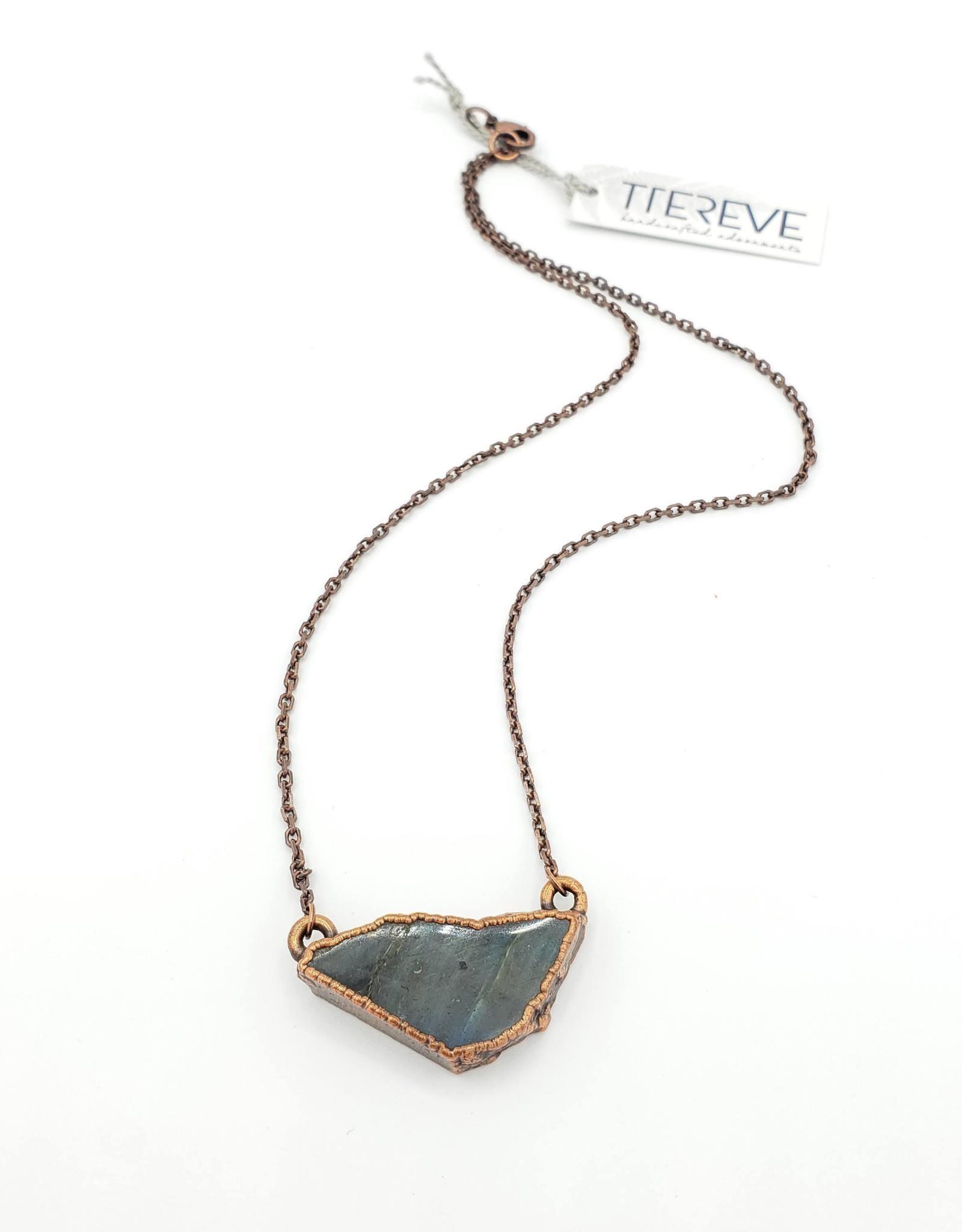 TTereve Flat Labradorite Slice Necklace Electroformed Copper