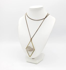 Larissa Loden Pirr Necklace, Brass Bars + Quartz Crystal by Larissa Loden