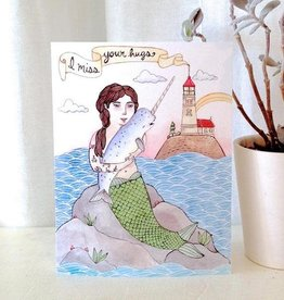 """I Miss Your Hugs"" Greeting Card - Little Canoe"