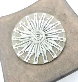 by Kali Round Brooch Resin & Razorblades by Kali