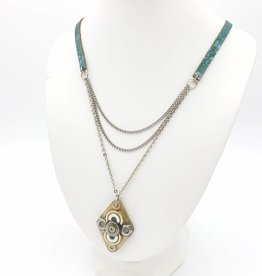 by Kali Resin Hardware and Leather Drape Necklace