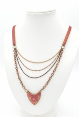 by Kali Resin Leaf and Leather Drape Necklace