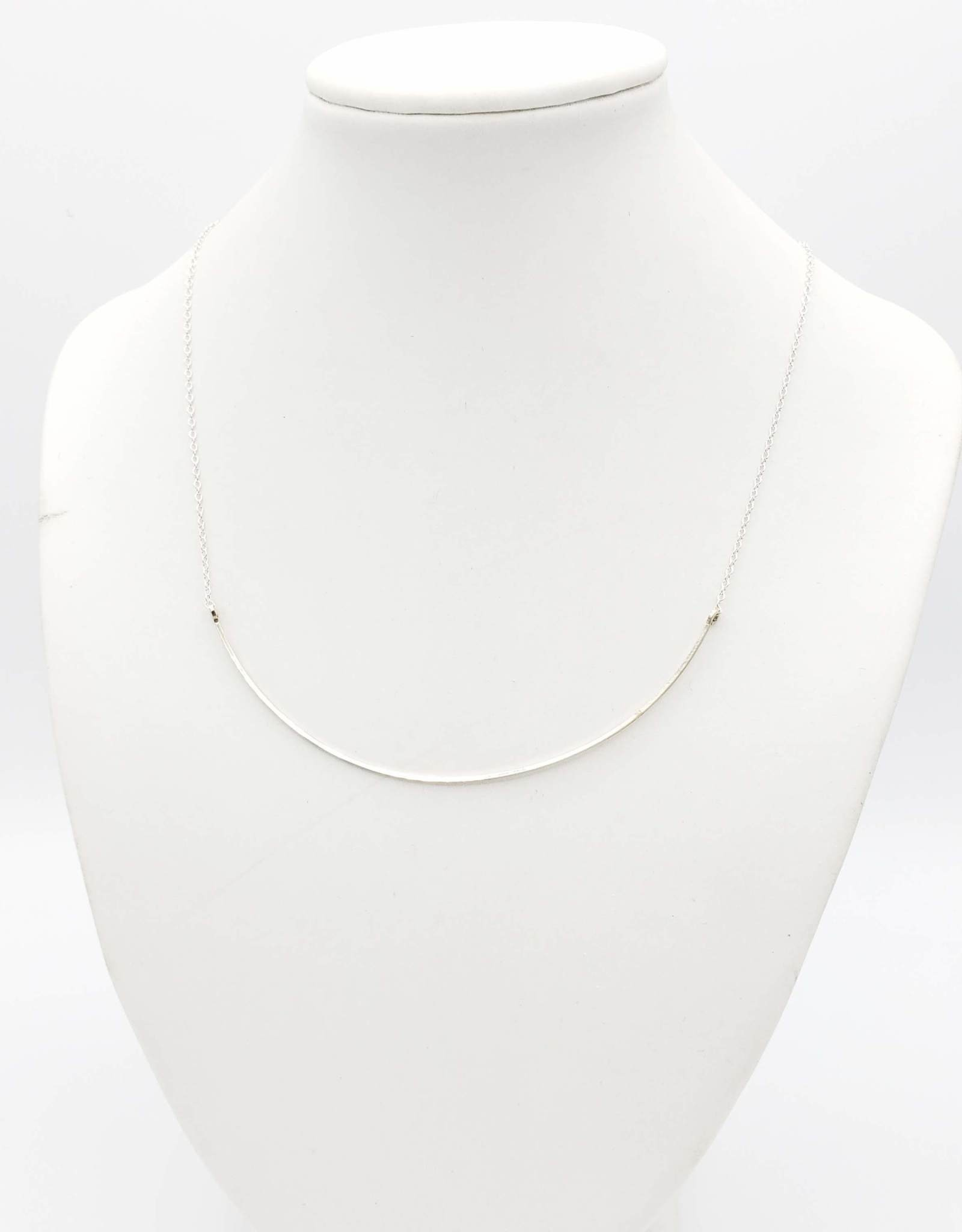 Annika Inez Single Large Curved Wire Necklace - Sterling Silver