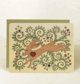 """Leaping Hare"" Greeting Card Wood - Little Gold Fox"