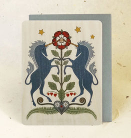 """Rampant Unicorns"" Greeting Card Wood - Little Gold Fox"