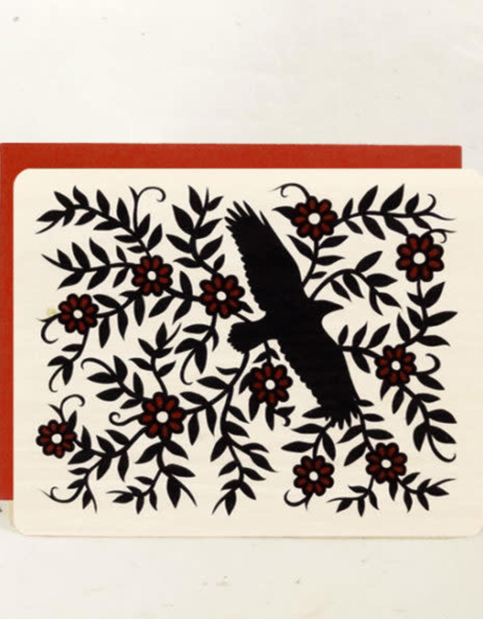 """Raven Wood"" Greeting Card Wood - Little Gold Fox"