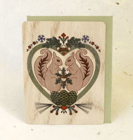 """Squirrel Love"" Greeting Card Wood - Little Gold Fox"
