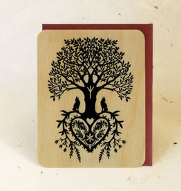 """Tree of Life"" Greeting Card Wood - Little Gold Fox"