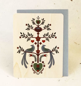 """Two Birds"" Greeting Card Wood - Little Gold Fox"