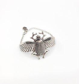 Egyptian Goddess Large Scarab Beetle Bracelet - Silver tone