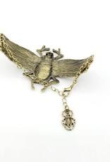Egyptian Goddess Large Scarab Beetle Bracelet - Gold tone