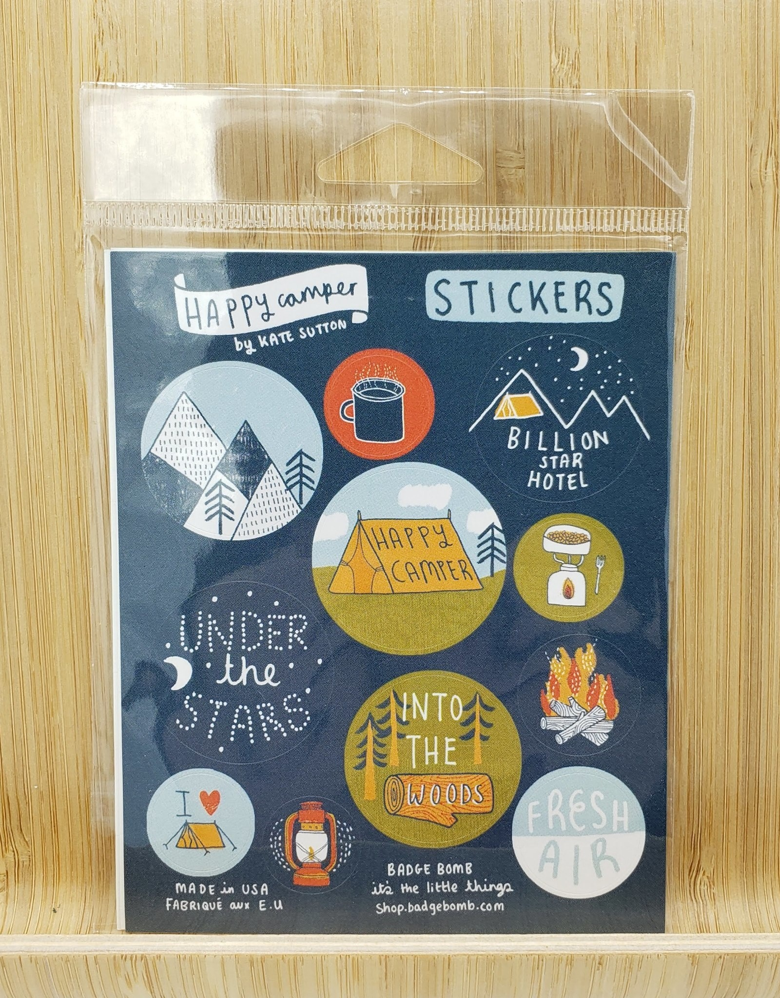 Badgebomb Happy Camper Gift Label Sticker Sheets -3 per pack by Kate Sutton