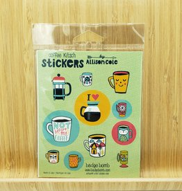 Coffee Kitsch Gift Label Sticker Sheets -3 per pack by Allison Cole