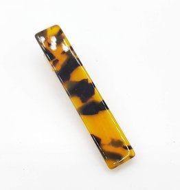 "Faux Tortoise Shell Brown Barrette ""Back to School Hair Party"" Long Rectangle Resin"