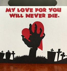 """My Love For You Will Ever Die"" Greeting Card - Lady Pilot Letterpress"