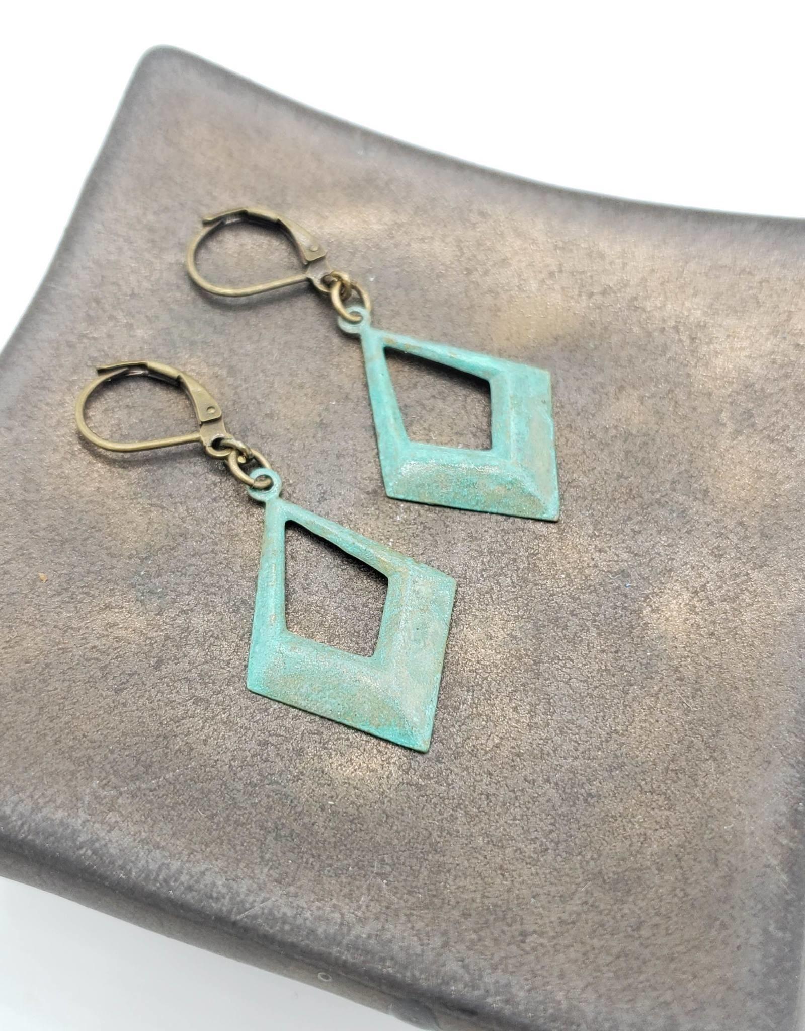 Narrow Hammered Open Diamond Shape Earrings- Brass Verdigris