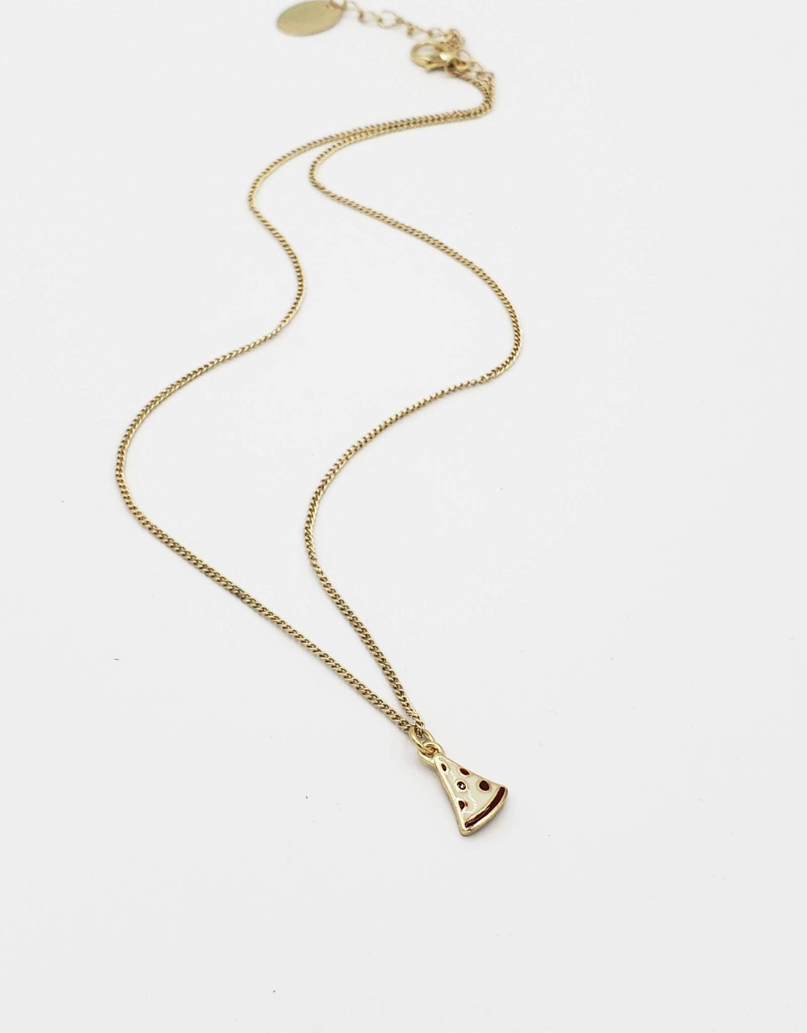 Gold Pizza Slice Necklace