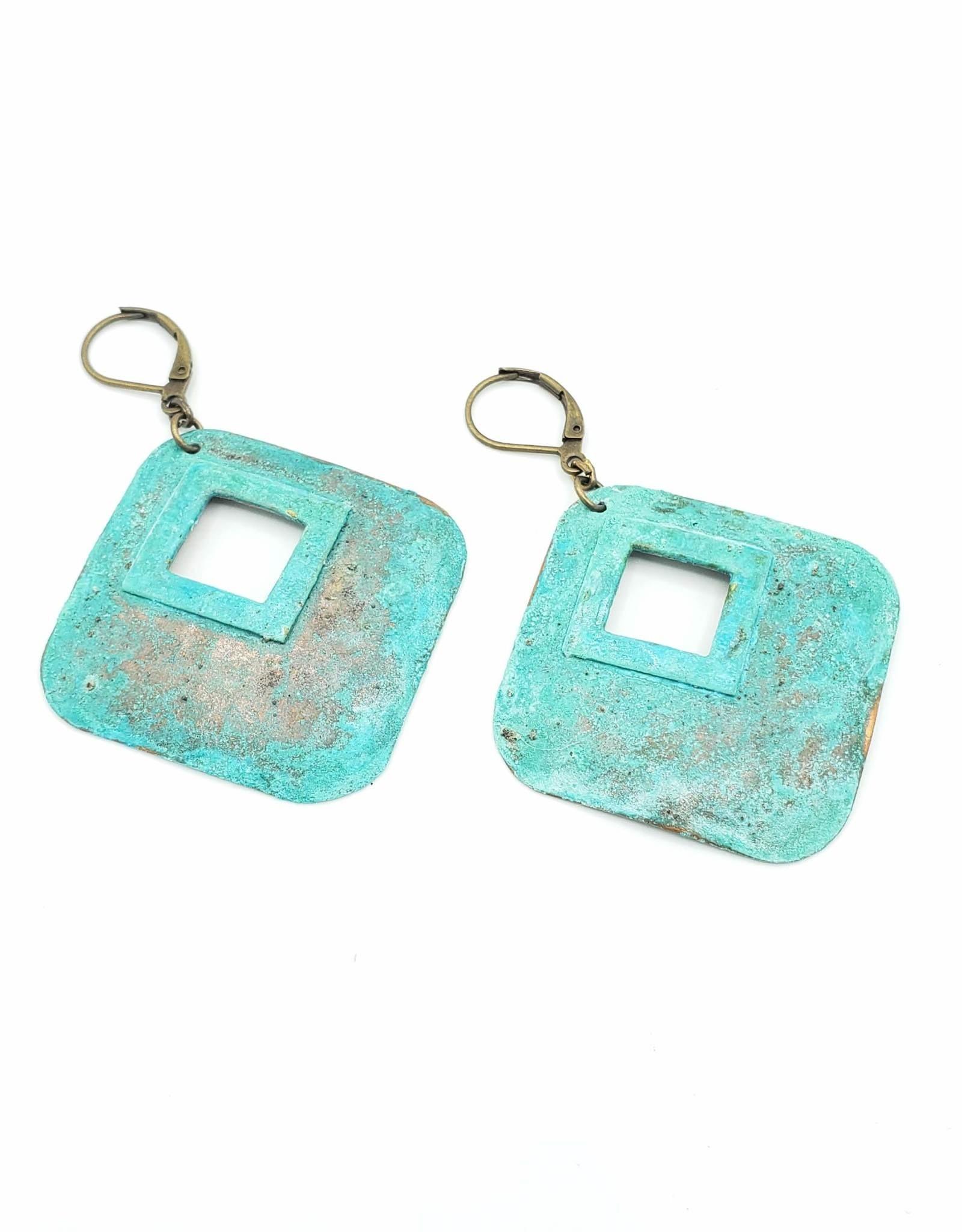 Hammered Diamond shape Earrings with Center Cutout - Brass & Copper Verdigris