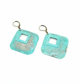 Hammered Diamond shape Earrings with Center Cutout - Brass & Copper Verdigris