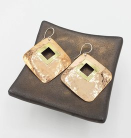 Hammered Diamond shape Earrings with Center Cutout - Brass & Copper