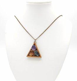 Altar Gemstone Triangle Shelf Pendant, Wood