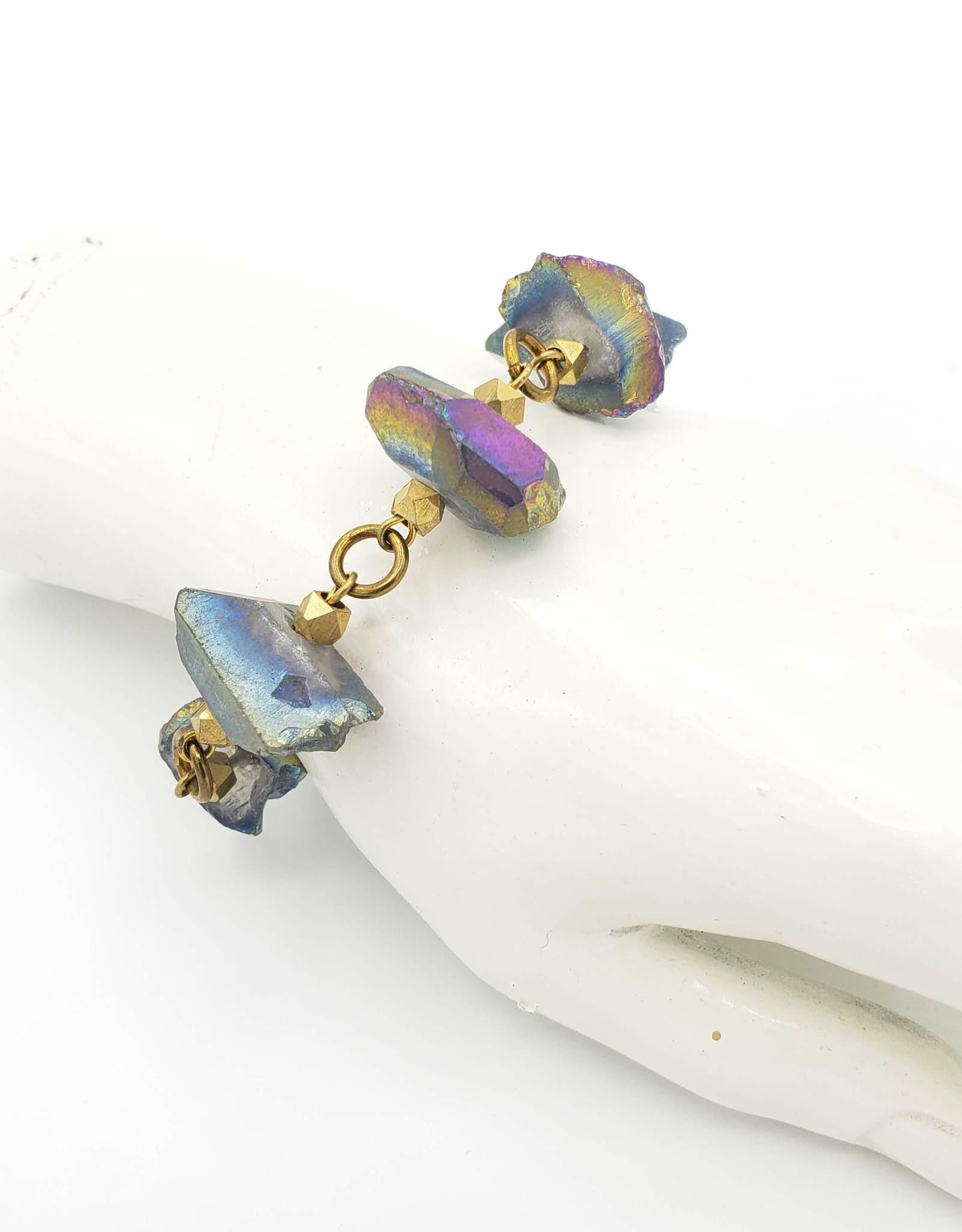 Flea Market Girl Blue Quartz Brass Chain Bracelet