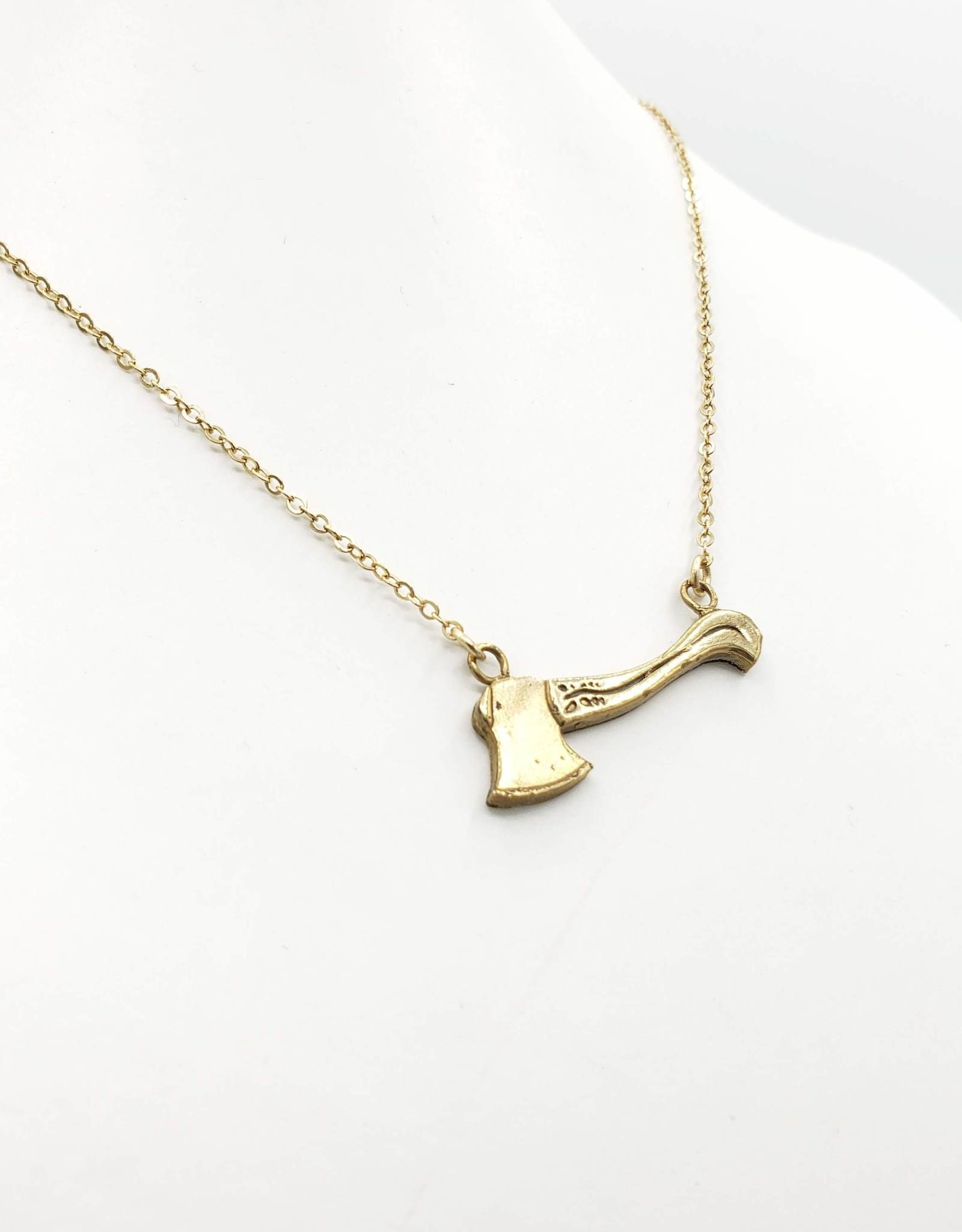 Flea Market Girl Axe Brass Necklace