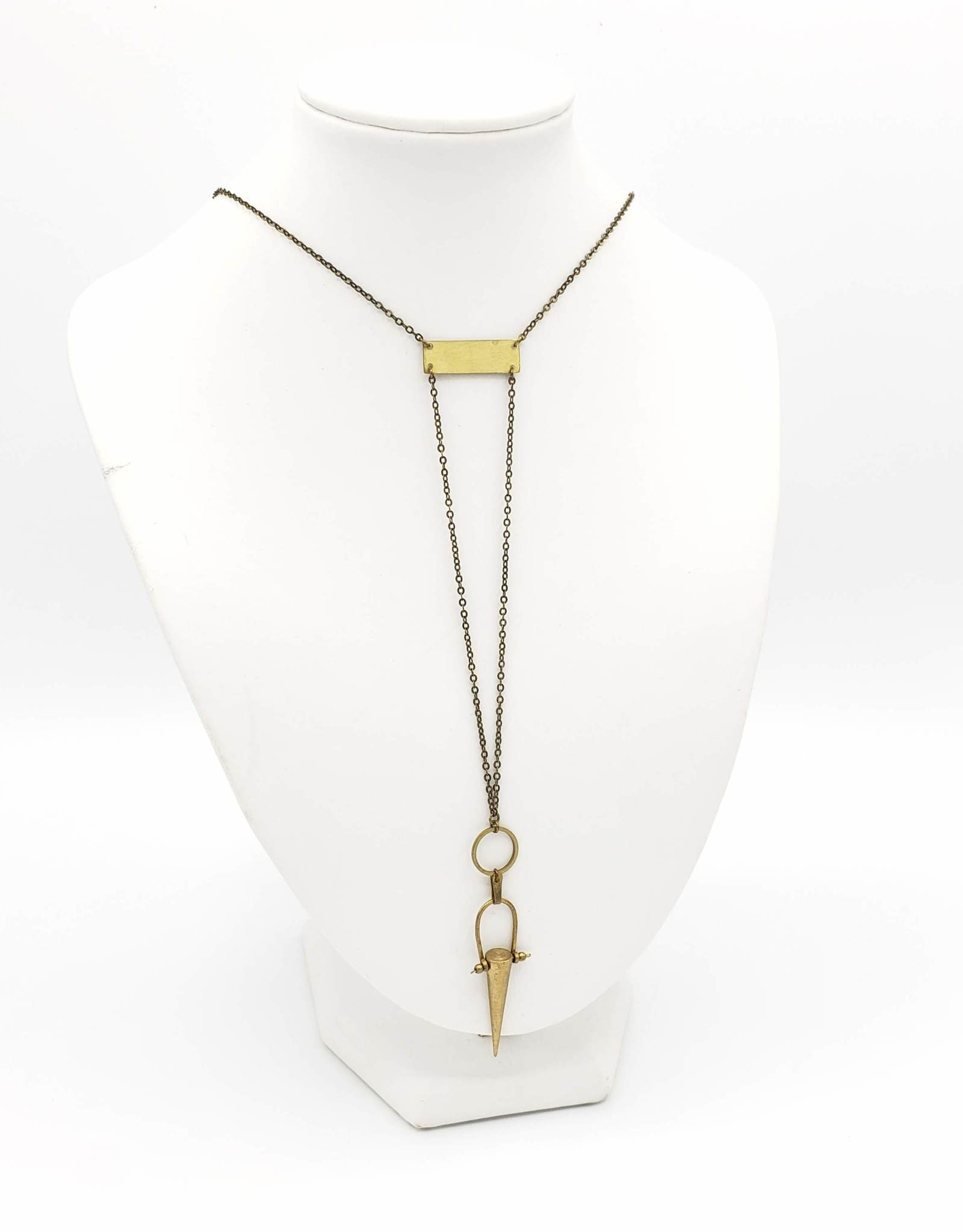 Jenevier Blaine Brass Spike, Hoops and Links Necklace