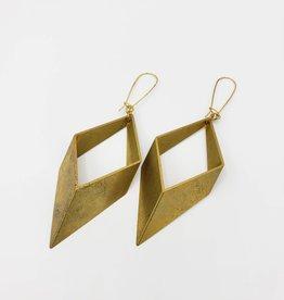 Larissa Loden Open Brass Diamond Large Earrings