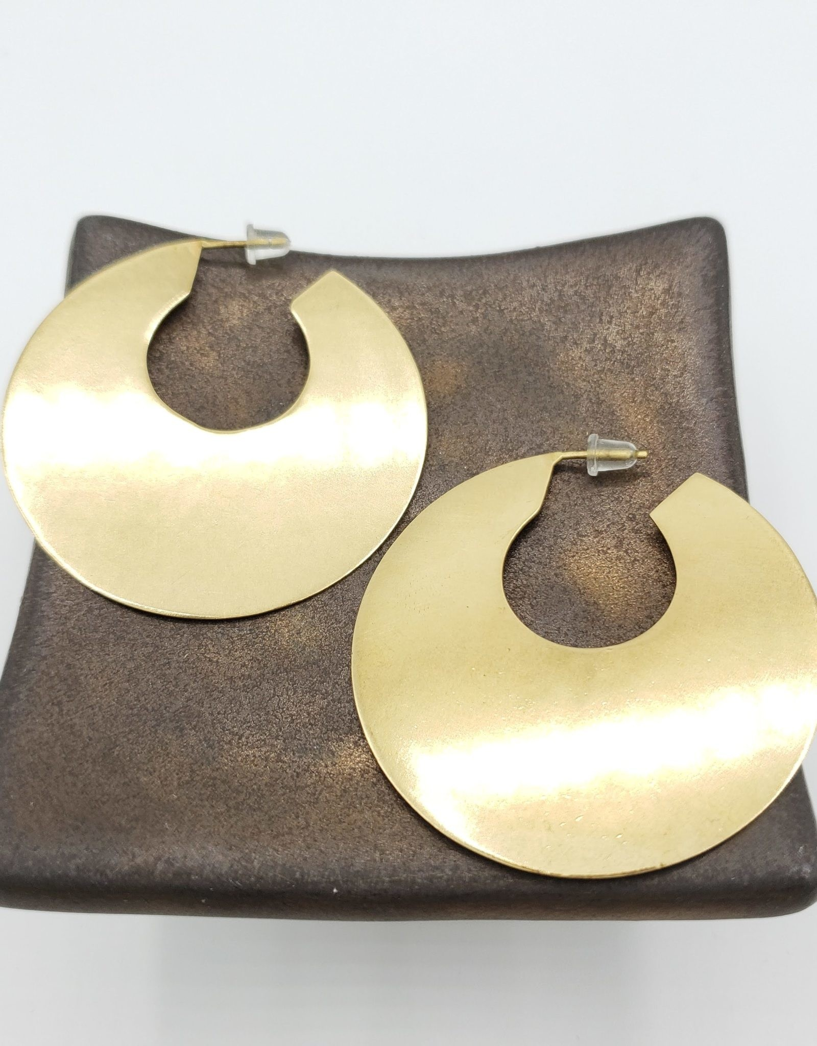 """Ink + Alloy 2"""" Large Solid Brass Disc Hoop  Earring - INK+ALLOY"""