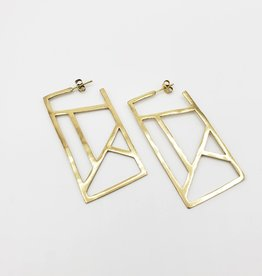 "Ink + Alloy ''Stained Glass'' Geometric Rectangle Earrings in Brass 2.25"" - INK+ALLOY"