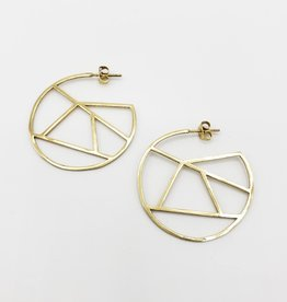 """Ink + Alloy """"Stained Glass"""" Brass Geometric Circle Earrings, Small 1.5"""" - INK+ALLOY"""