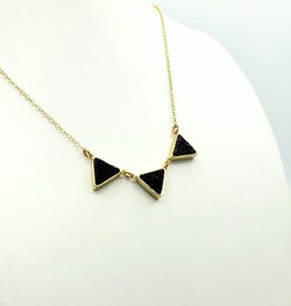 Larissa Loden Druzy Triangle Necklace - Black