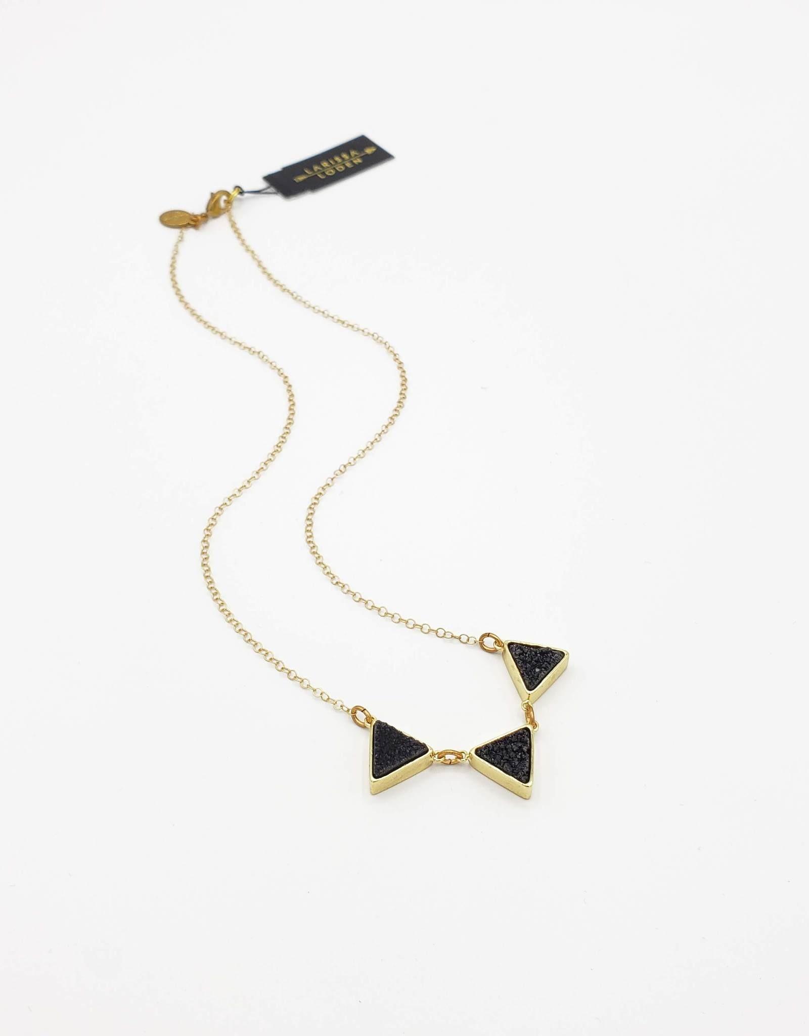 Larissa Loden Druzy Triangle Necklace - Black