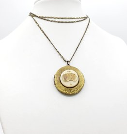 IGNY Accordian Vintage Limoges Musical Oval Locket Necklace