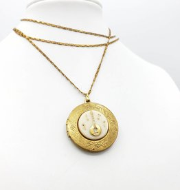 IGNY Lute Vintage Limoges Musical Oval Locket Necklace