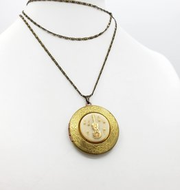 IGNY Violin - Vintage Limoges Musical Oval Locket Necklace