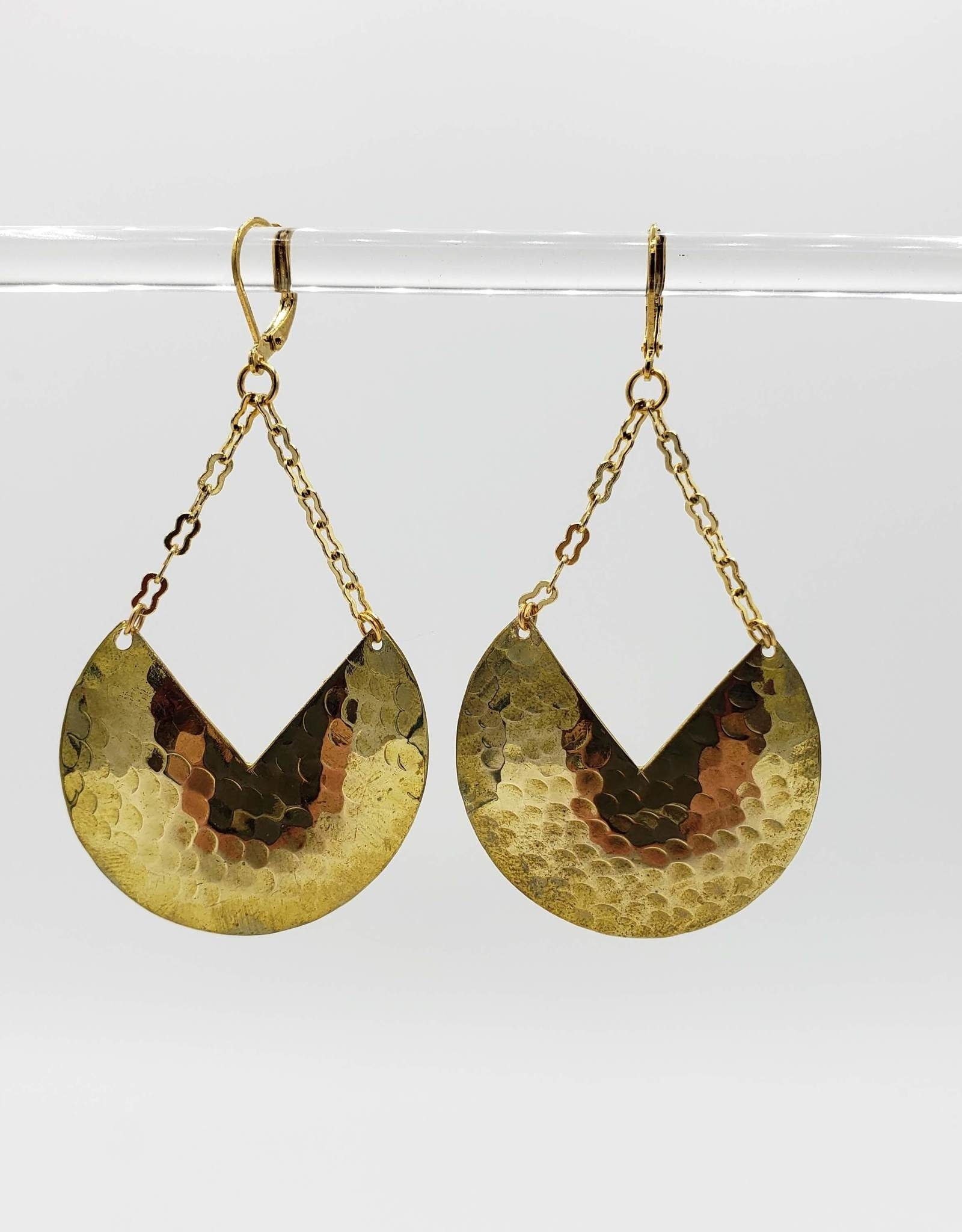 Hammered Cut-out V Round Earrings , brass