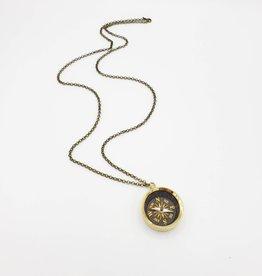 Long Golden Compass Necklace