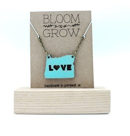 Bloom & Grow Designs Oregon Love Necklace, Painted Wood