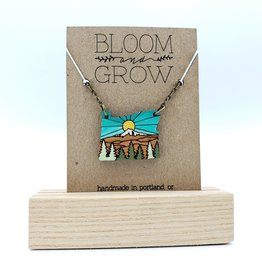 Bloom & Grow Designs Oregon Sunshine on the Mountain Necklace, Painted Wood