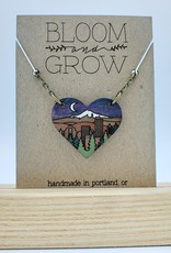 Bloom & Grow Designs Portland at Night Heart Necklace, Painted Wood